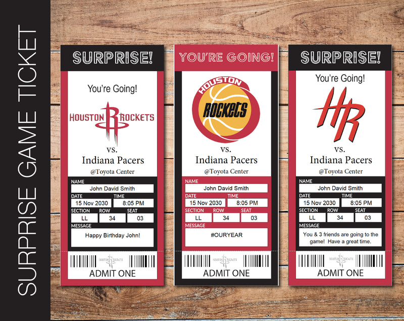 Printable Houston Rockets Professional Basketball Game Gift Reveal - Kaci Bella Designs