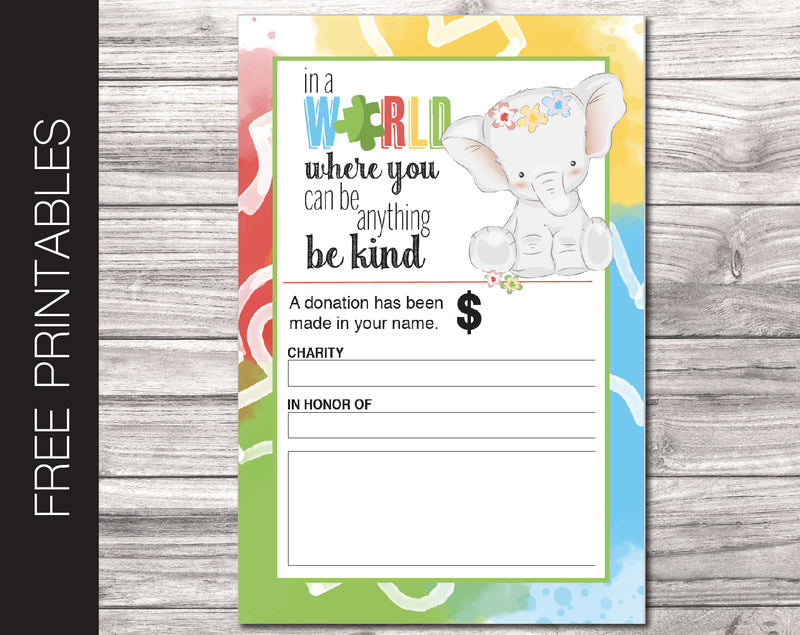 Free Printable Autism Charity Donation Gift Card - Kaci Bella Designs