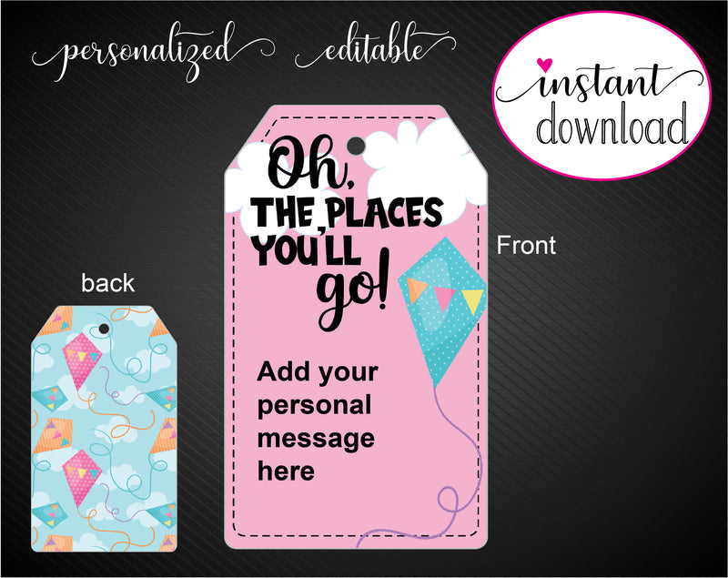 Printable Oh The Places You'll Go Kite Themed Gift Tags - Kaci Bella Designs