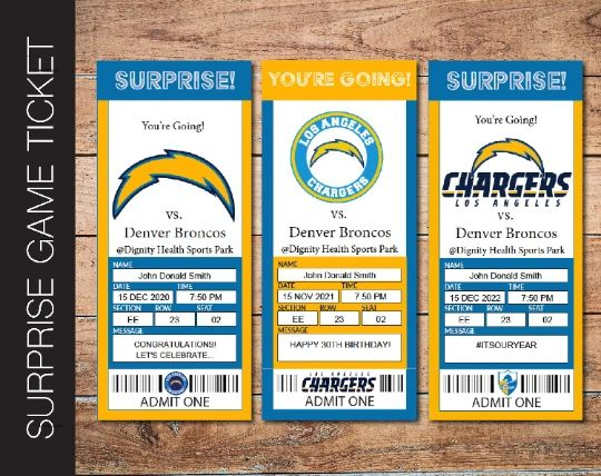 Printable Los Angeles Chargers Professional Football Game Gift Reveal - Kaci Bella Designs