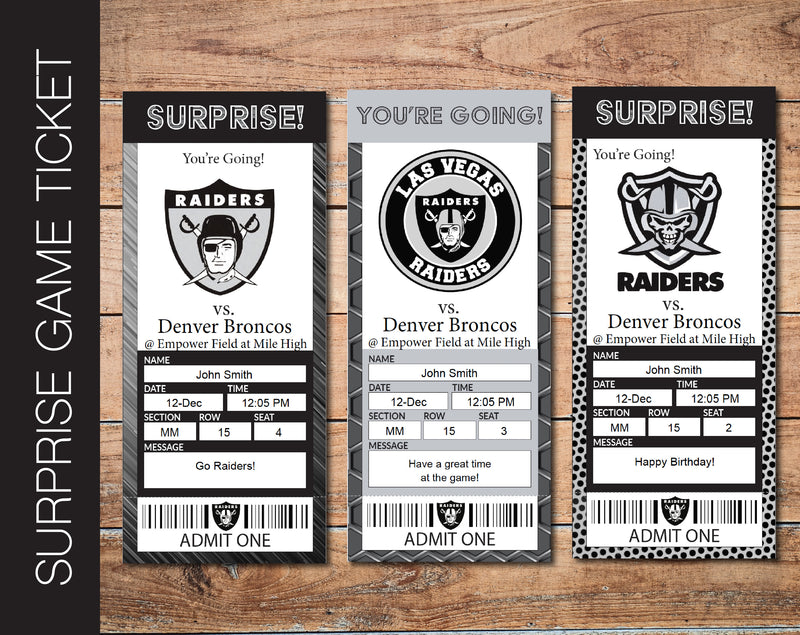 Printable Las Vegas Raiders Professional Football Game Gift Reveal - Kaci Bella Designs