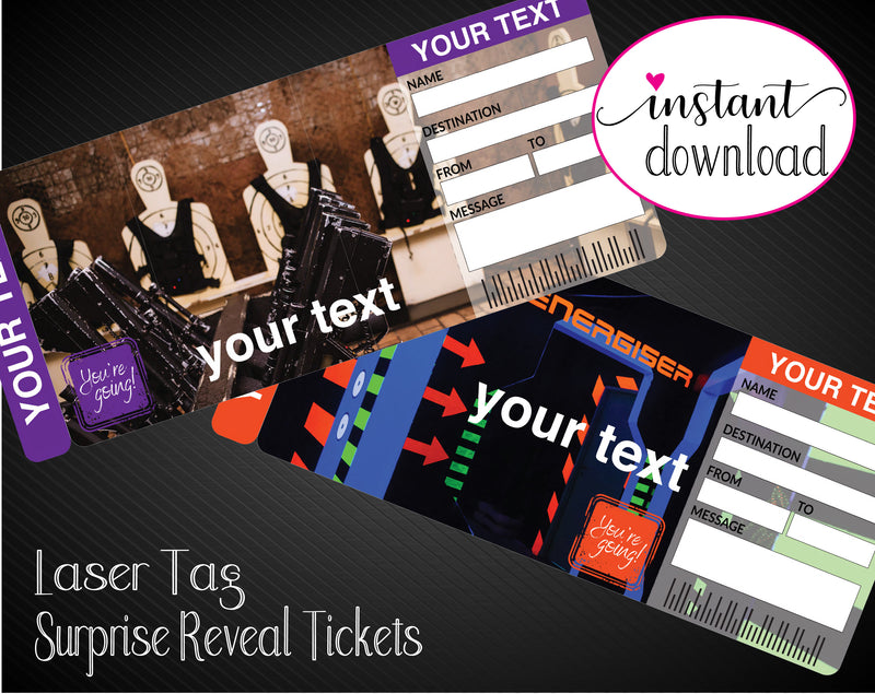 Printable Laser Tag Surprise Gift Reveal Ticket - Kaci Bella Designs