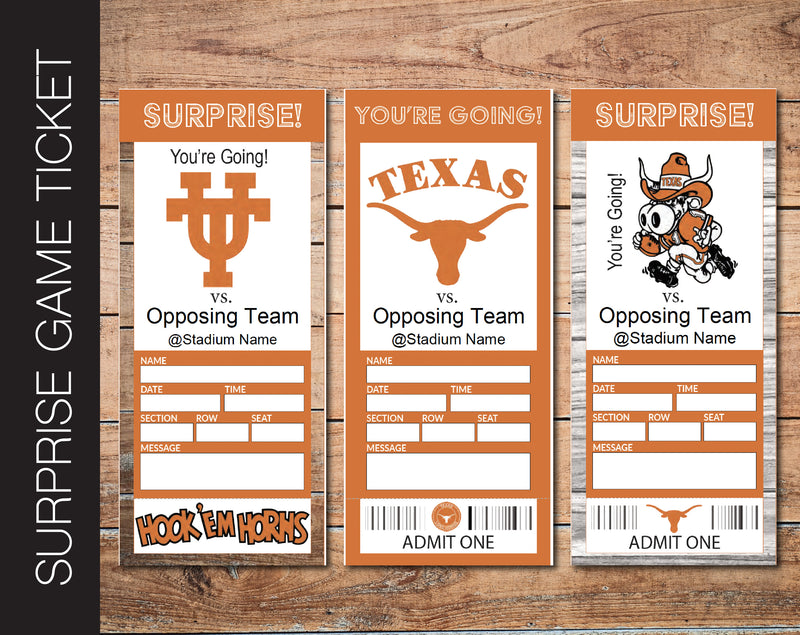 Printable Texas Longhorns College Game Gift Reveal - Kaci Bella Designs