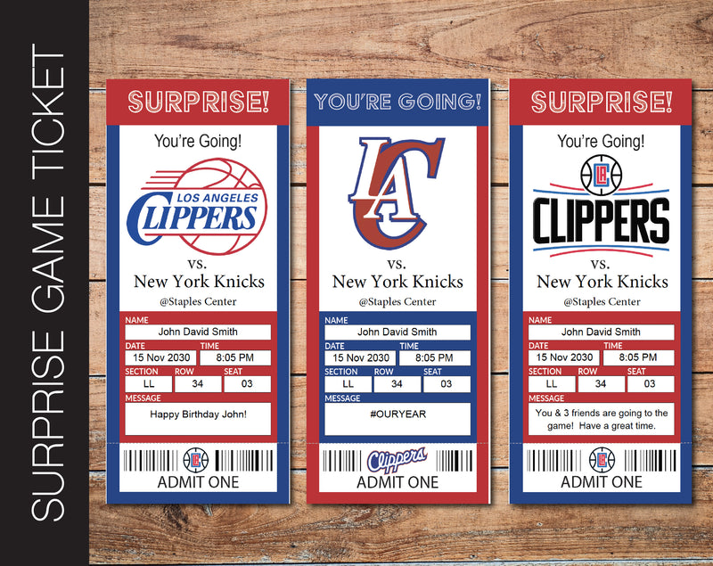Printable Los Angeles Clippers Professional Basketball Game Gift Reveal - Kaci Bella Designs