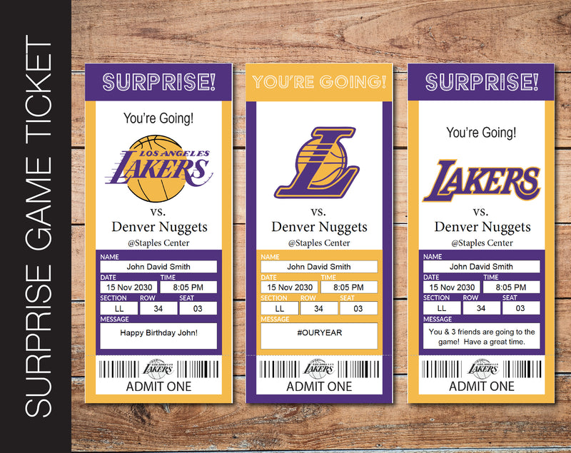 Printable Los Angeles Lakers Professional Basketball Game Gift Reveal - Kaci Bella Designs
