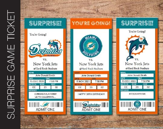 Printable Miami Dolphins Professional Football Game Gift Reveal - Kaci Bella Designs