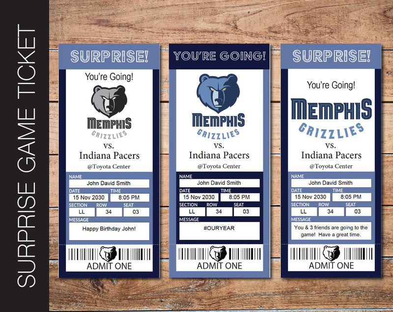 Printable Memphis Grizzlies Professional Basketball Game Gift Reveal - Kaci Bella Designs