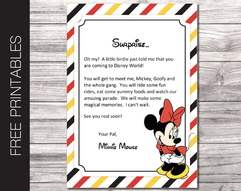 Free Printable Letter from Minnie, Surprise Disneyland Trip Reveal - Kaci Bella Designs