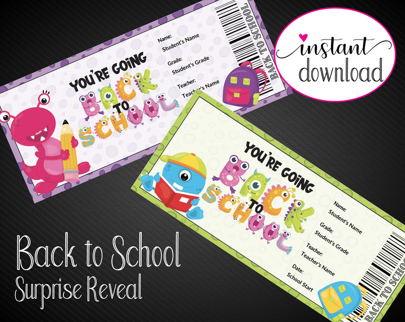 Printable Monster Themed Back-To-School Surprise Return to School and Teacher Reveal - Kaci Bella Designs