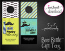 Printable Dad Themed Beer Bottle Personalized Gift Tags - Kaci Bella Designs