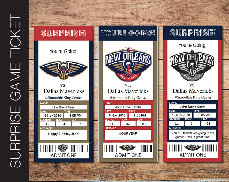 Printable New Orleans Pelicans Professional Basketball Game Gift Reveal - Kaci Bella Designs