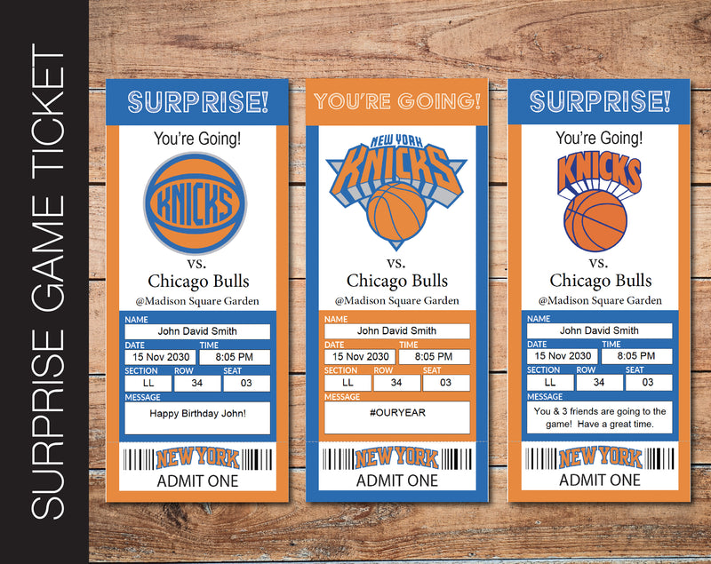Printable New York Knicks Professional Basketball Game Gift Reveal - Kaci Bella Designs