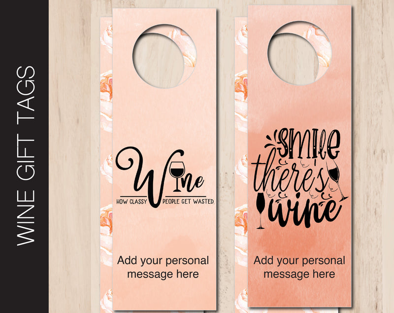 Printable Date Night Personalized Double-Sided Wine Bottle Gift Tags - Kaci Bella Designs