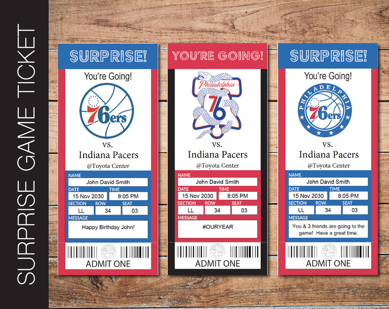Printable Philadelphia 76ers Professional Basketball Game Gift Reveal - Kaci Bella Designs