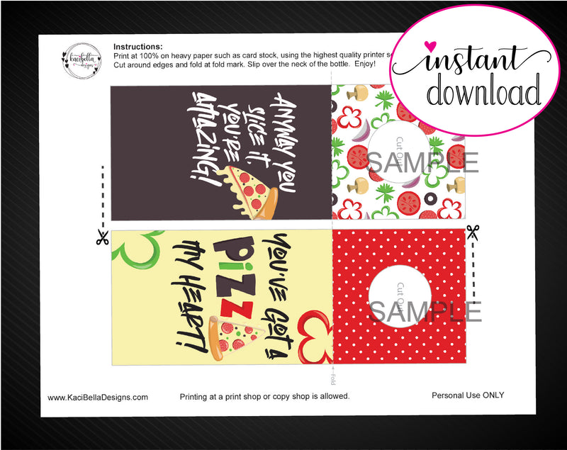 Printable Pizza Themed Beer Bottle Personalized Gift Tags - Kaci Bella Designs