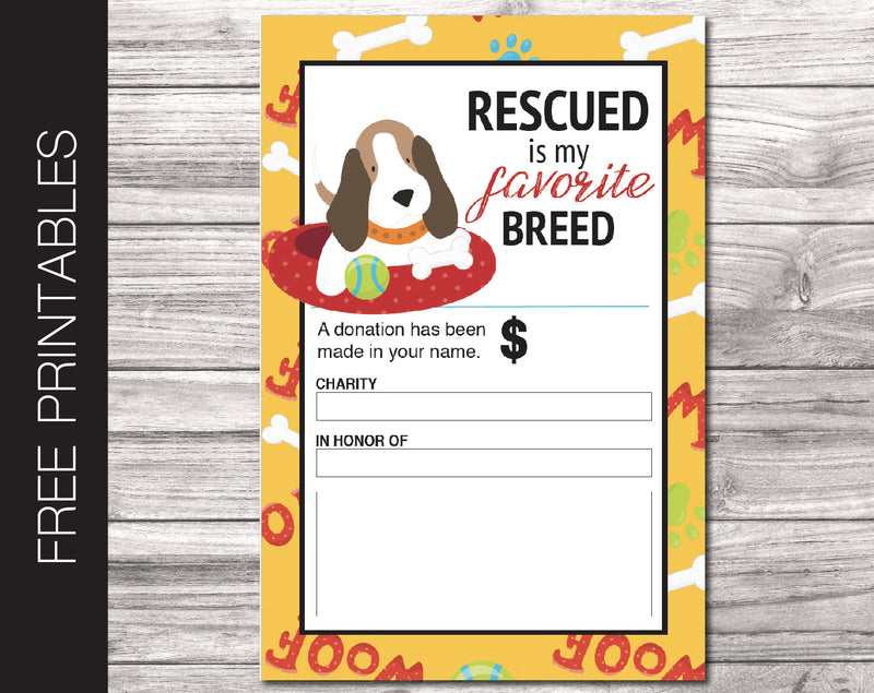 Free Printable Pet Rescue Charity Donation Gift Card - Kaci Bella Designs