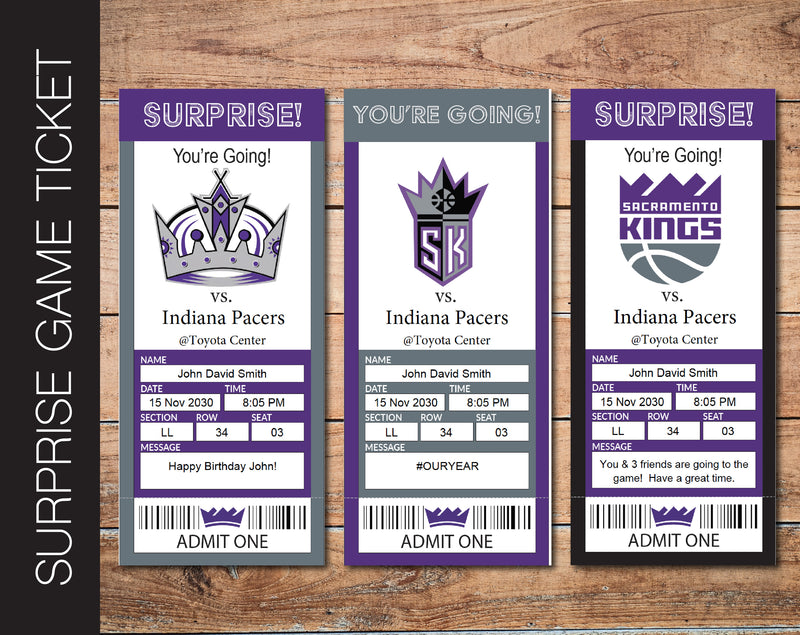 Printable Sacramento Kings Professional Basketball Game Gift Reveal - Kaci Bella Designs