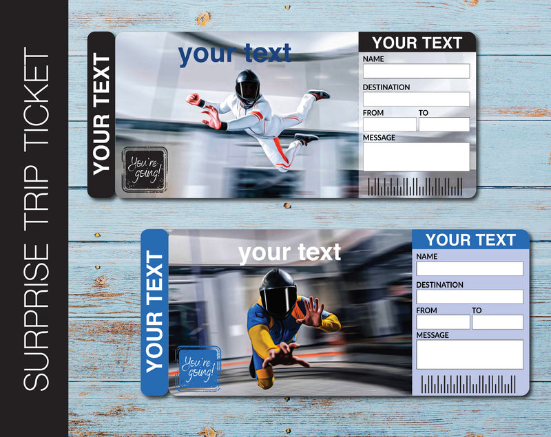 Printable iFLY or Sky Diving Surprise Gift Reveal Ticket - Kaci Bella Designs