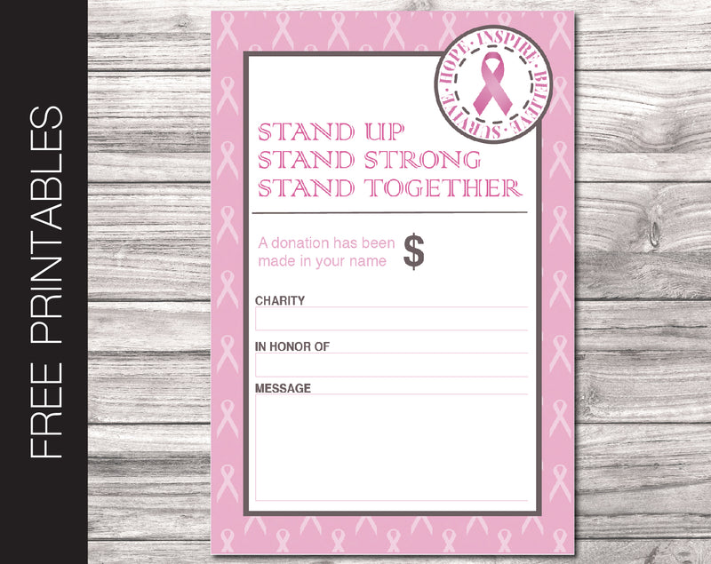 Free Printable Breast Cancer Charity Donation Gift Card - Kaci Bella Designs