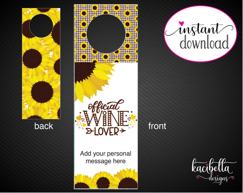 Printable Dinner Gift Personalized Double-Sided Wine Bottle Gift Tags - Kaci Bella Designs