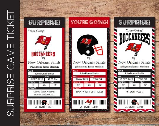 Printable Tampa Bay Buccaneers Professional Football Game Gift Reveal - Kaci Bella Designs