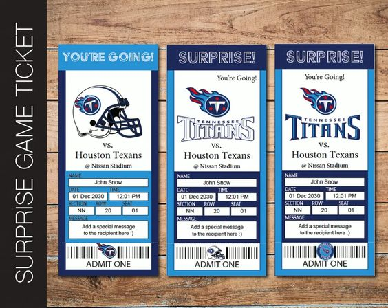 Printable Tennessee Titans Professional Football Game Gift Reveal - Kaci Bella Designs
