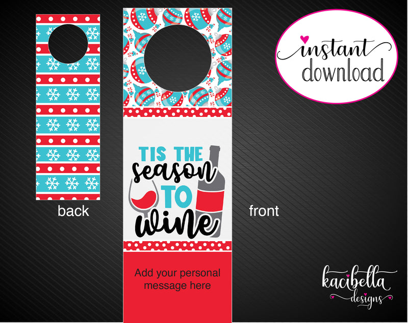 Printable Christmas Themed Personalized Double-Sided Wine Bottle Gift Tags - Kaci Bella Designs