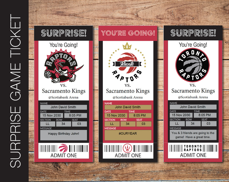 Printable Toronto Raptors Professional Basketball Game Gift Reveal - Kaci Bella Designs