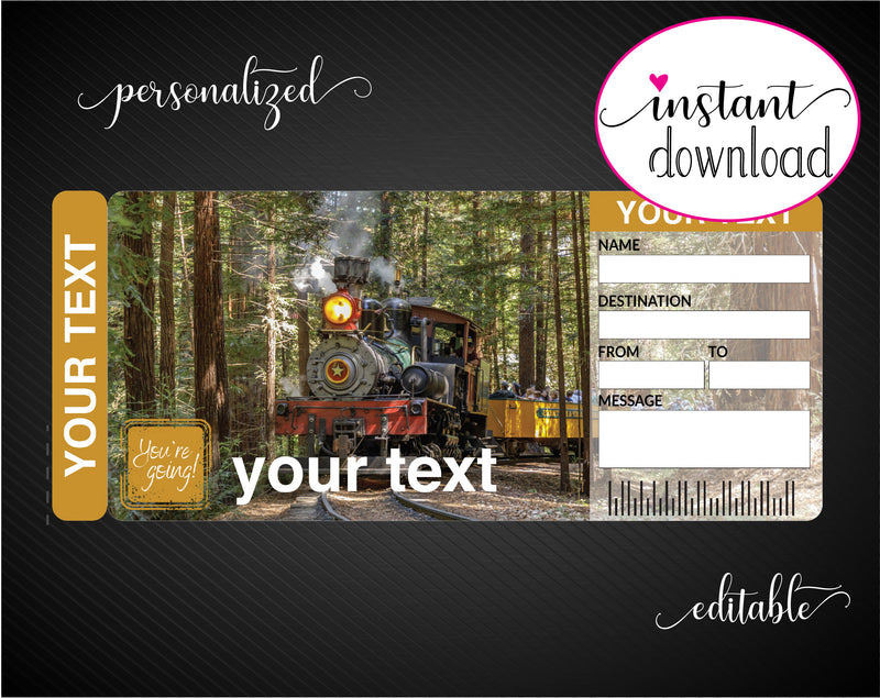 Printable Train Ride Surprise Gift Reveal Ticket - Kaci Bella Designs