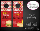 Printable Grill Themed Beer Bottle Personalized Gift Tags - Kaci Bella Designs
