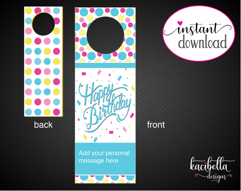 Printable Birthday Themed Personalized Wine Gift Tags - Kaci Bella Designs