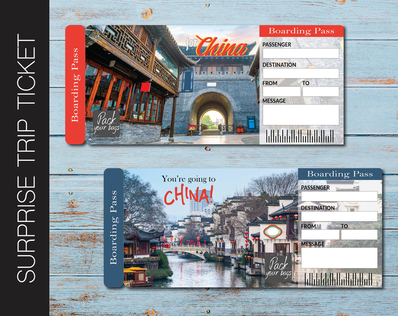 Printable China Surprise Trip Gift Boarding Pass - Kaci Bella Designs