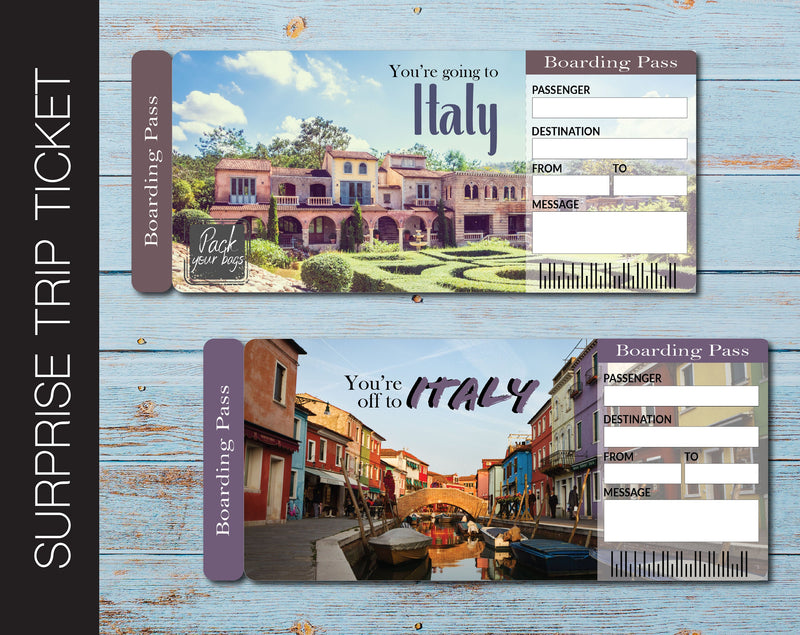 Printable Italy Surprise Trip Gift Ticket - Kaci Bella Designs
