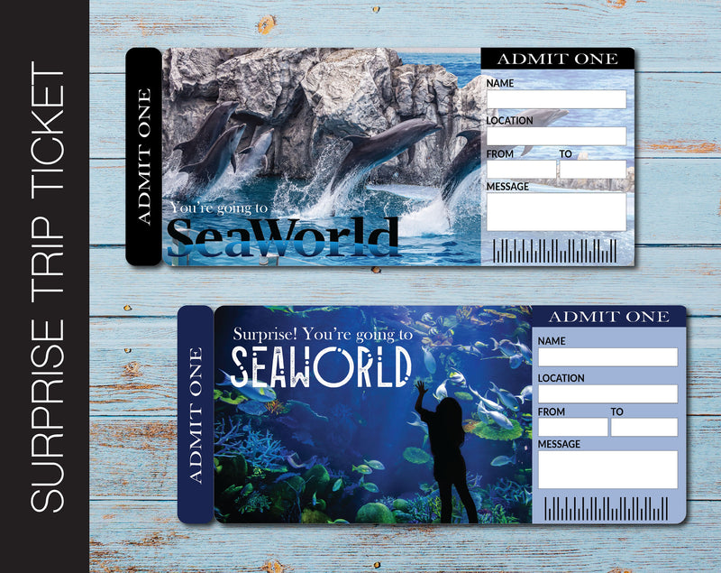 Printable Seaworld Surprise Trip Gift Ticket - Kaci Bella Designs