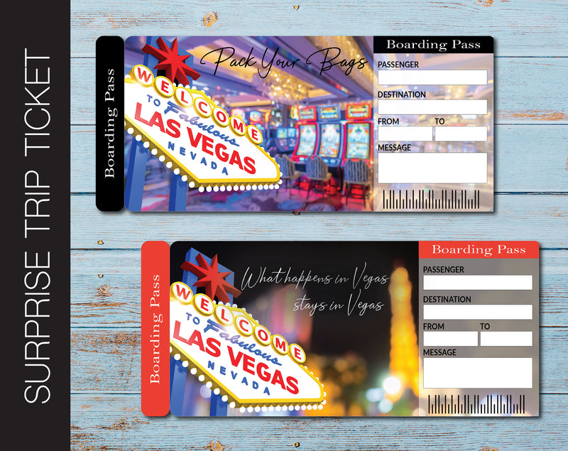 Printable Las Vegas Surprise Trip Gift Boarding Pass - Kaci Bella Designs