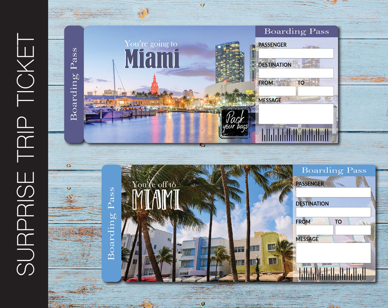 Printable Miami Surprise Trip Gift Ticket - Kaci Bella Designs