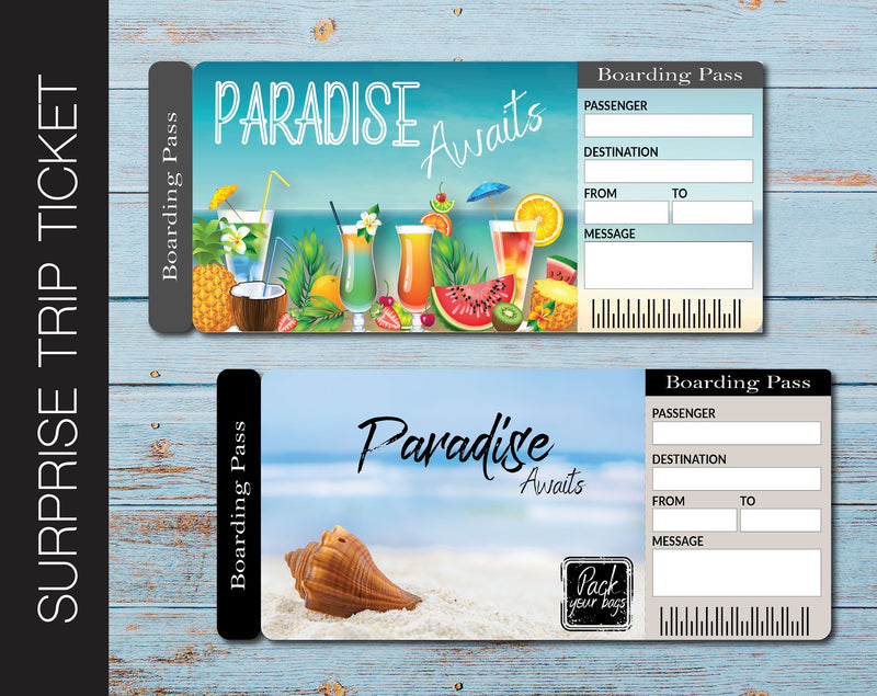 Printable Paradise Surprise Trip Gift Ticket - Kaci Bella Designs