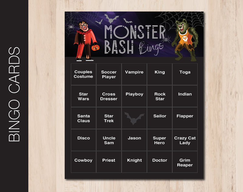 Printable Monster Bash Editable Bingo Cards - Kaci Bella Designs