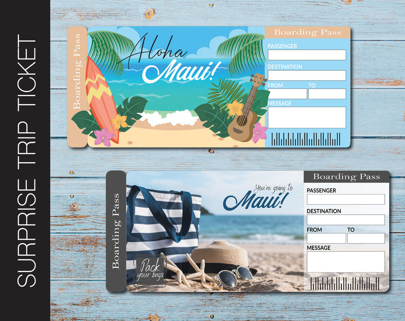 Printable Maui Surprise Trip Gift Ticket - Kaci Bella Designs