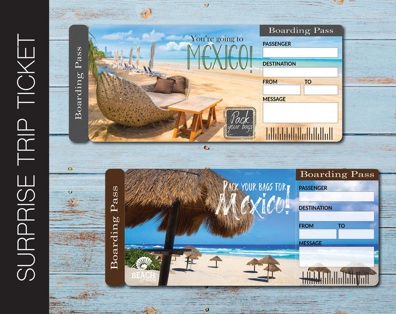 Printable Mexico Surprise Trip Gift Ticket - Kaci Bella Designs