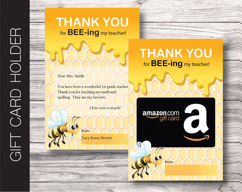 Printable Teacher Appreciation Gift Card Holder - Kaci Bella Designs