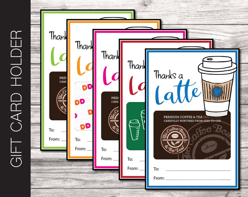 Printable Coffee Gift Card Holder, 5 Colors - Kaci Bella Designs