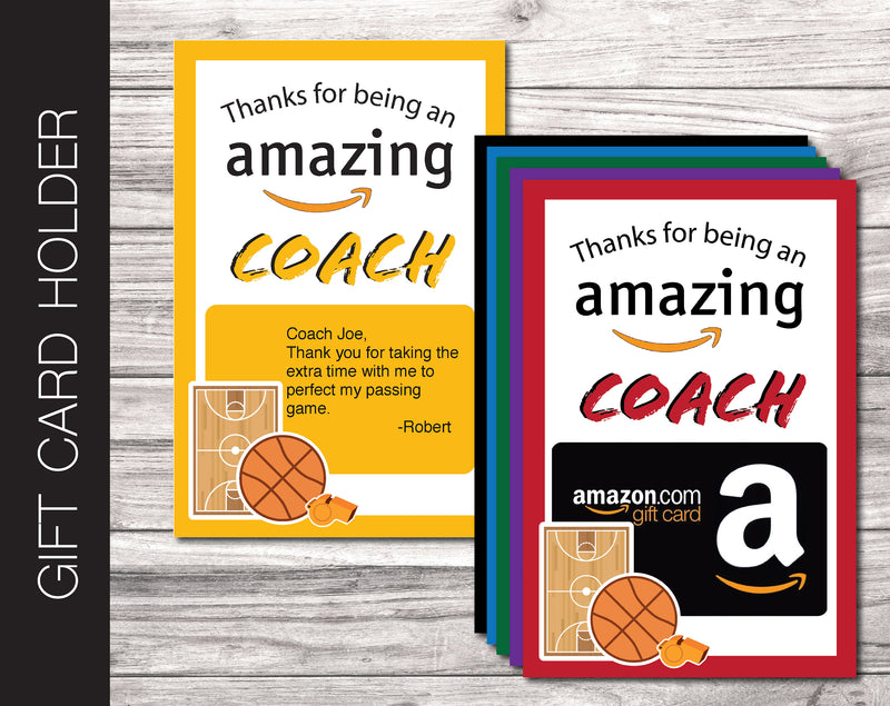 Printable Basketball Coach Appreciation Amazon Gift Card Holder - Kaci Bella Designs