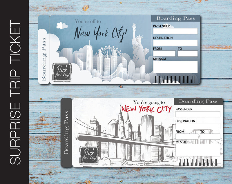 Printable New York Surprise Vacation Gift Ticket - Kaci Bella Designs