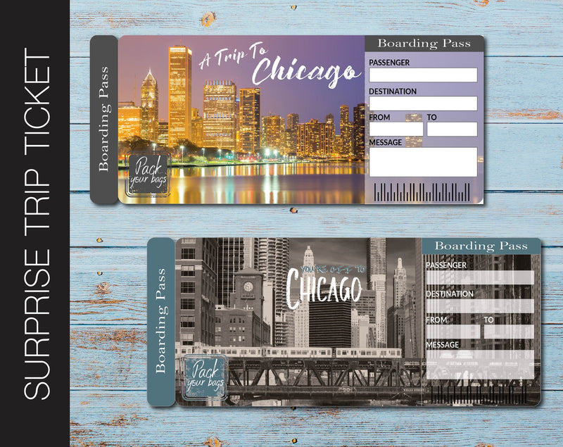 Printable Chicago Surprise Trip Gift Ticket - Kaci Bella Designs