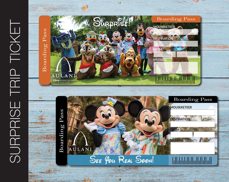 Printable Disney Aulani Surprise Trip Gift Ticket - Kaci Bella Designs