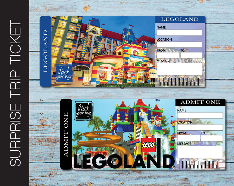 Printable Legoland Surprise Trip Gift Ticket - Kaci Bella Designs
