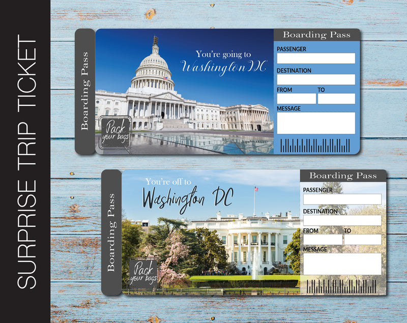 Printable Washington DC Surprise Trip Gift Ticket - Kaci Bella Designs