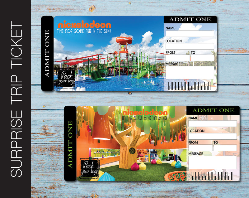 Printable Nickelodeon Surprise Trip Gift Ticket - Kaci Bella Designs