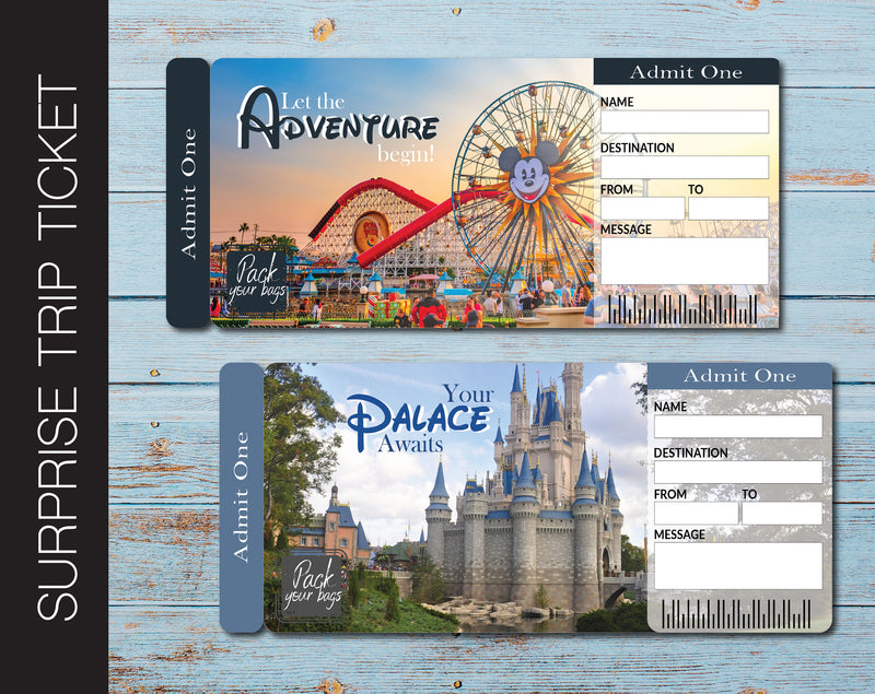 Printable DISNEY Surprise Trip Gift Ticket - Kaci Bella Designs